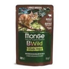 MONGE CAT BWILD GRAIN FREE ВЛАЖНЫЙ КОРМ ДЛЯ КОТЯТ И КОШЕК КРУПНЫХ ПОРОД, ИЗ МЯСА БУЙВОЛА С ОВОЩАМИ, ПАУЧИ 85 Г