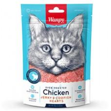 Wanpy Cat Лакомство для кошек «сердечки» из курицы с треской 80 г