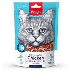 Wanpy Cat Лакомство для кошек «суши» из курицы с треской 80 г