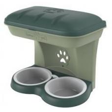 BAMA PET миска для собак настенная двойная 1600 мл, зеленая