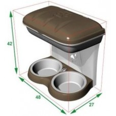 BAMA PET миска для собак настенная двойная 1600 мл, бежевая