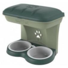 BAMA PET миска для собак настенная двойная MAXI 2200 мл, зеленая