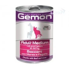 Gemon консервы для собак средних пород кусочки говядины с печенью 415г