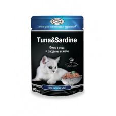 Gina (паучи) корм для кошек Тунец с сардинами 85гр