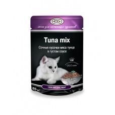 Gina (паучи) корм для кошек Тунец  Микс в густом соусе  85гр