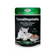 Gina (паучи) корм для кошек Тунец с овощами 85гр