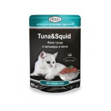 Gina (паучи) корм для кошек в желе Тунец с кальмаром  85гр