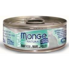 Monge Cat Natural консервы для кошек морепродукты с курицей 80 г