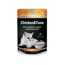 Gina (паучи) корм для кошек Цыпленок с тунцом 85гр